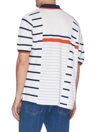 Back View - Click To Enlarge - MARTINE ROSE - Deconstructed stripe polo