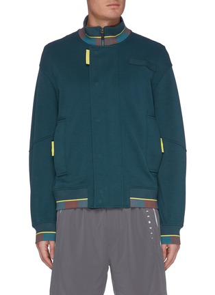 Main View - Click To Enlarge - PARTICLE FEVER - Colourblock panel standcollar jacket
