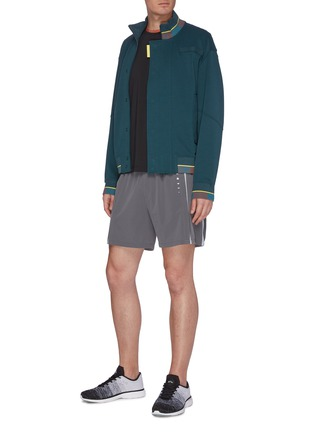 Figure View - Click To Enlarge - PARTICLE FEVER - Colourblock panel standcollar jacket