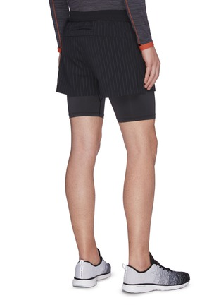 Back View - Click To Enlarge - PARTICLE FEVER - Quick dry pinstripe running shorts