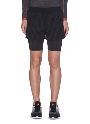 Main View - Click To Enlarge - PARTICLE FEVER - Quick dry pinstripe running shorts