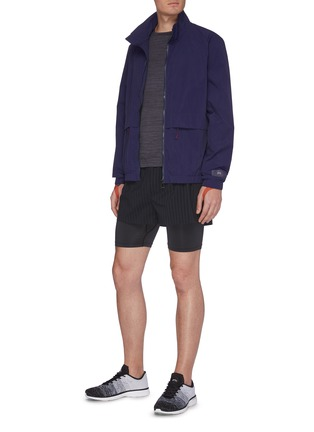 Figure View - Click To Enlarge - PARTICLE FEVER - Quick dry pinstripe running shorts