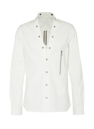 Main View - Click To Enlarge - RICK OWENS - 'Larry' snap button collarless shirt