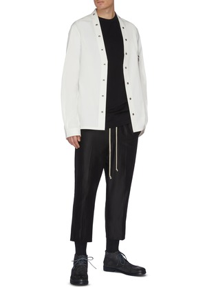 Figure View - Click To Enlarge - RICK OWENS - 'Larry' snap button collarless shirt