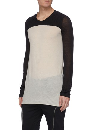 Front View - Click To Enlarge - RICK OWENS - 'Dustulator' colourblock panelled top