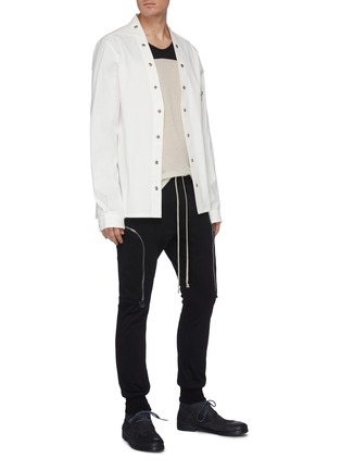 Figure View - Click To Enlarge - RICK OWENS - 'Dustulator' colourblock panelled top