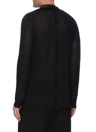 Back View - Click To Enlarge - RICK OWENS - V-neck snap wool cardigan