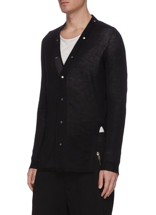 Front View - Click To Enlarge - RICK OWENS - V-neck snap wool cardigan
