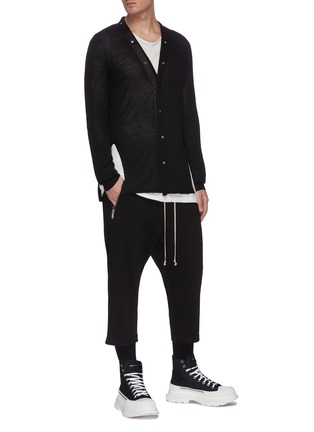 Figure View - Click To Enlarge - RICK OWENS - V-neck snap wool cardigan