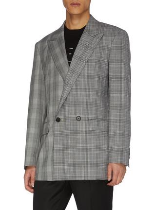 Front View - Click To Enlarge - JUUN.J - Peak lapel double breast check wool blazer