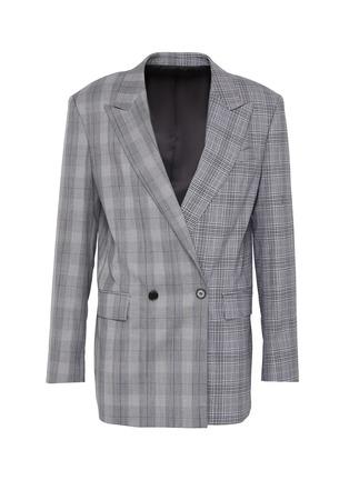 Main View - Click To Enlarge - JUUN.J - Peak lapel double breast check wool blazer