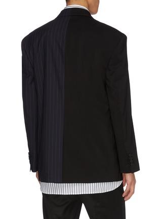 Back View - Click To Enlarge - JUUN.J - Pinstripe panel colourblock wool-blend blazer