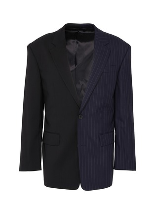 Main View - Click To Enlarge - JUUN.J - Pinstripe panel colourblock wool-blend blazer
