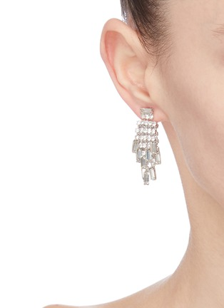 Front View - Click To Enlarge - VENNA - Glass crystal ball drop earrings