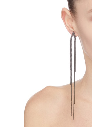Front View - Click To Enlarge - VENNA - Detachable crystal fringe drop earrings