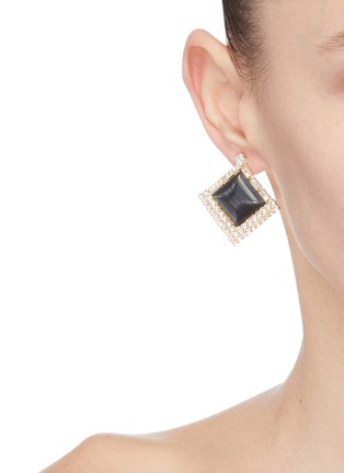 Front View - Click To Enlarge - VENNA - Square stud layered hoop earrings
