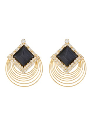 Main View - Click To Enlarge - VENNA - Square stud layered hoop earrings
