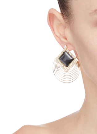 Figure View - Click To Enlarge - VENNA - Square stud layered hoop earrings