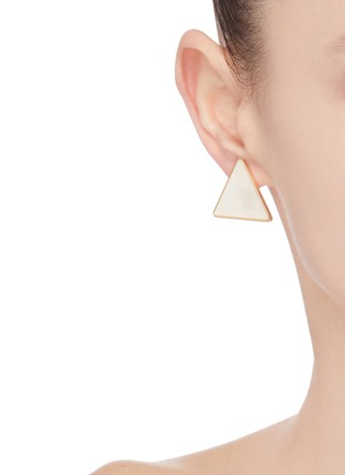 Front View - Click To Enlarge - VENNA - Triangular stud crystal star hoop earrings