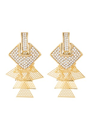 Main View - Click To Enlarge - VENNA - Square stud layered drop earrings