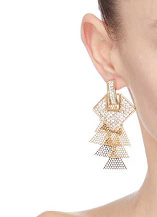 Figure View - Click To Enlarge - VENNA - Square stud layered drop earrings