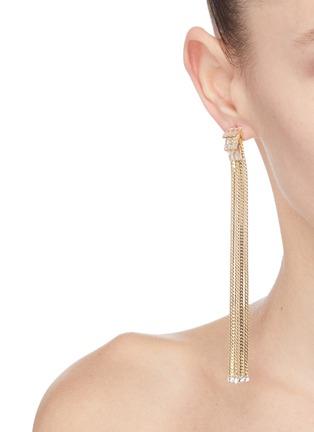 Figure View - Click To Enlarge - VENNA - Detachable crystal stud fringe drop earrings