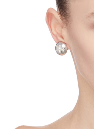Front View - Click To Enlarge - VENNA - Star sheild chain drop earrings