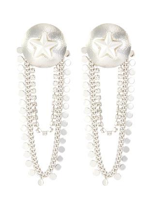 Main View - Click To Enlarge - VENNA - Star sheild chain drop earrings