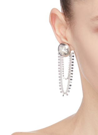 Figure View - Click To Enlarge - VENNA - Star sheild chain drop earrings