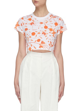 Main View - Click To Enlarge - FIORUCCI - Floral Print Crop T-shirt