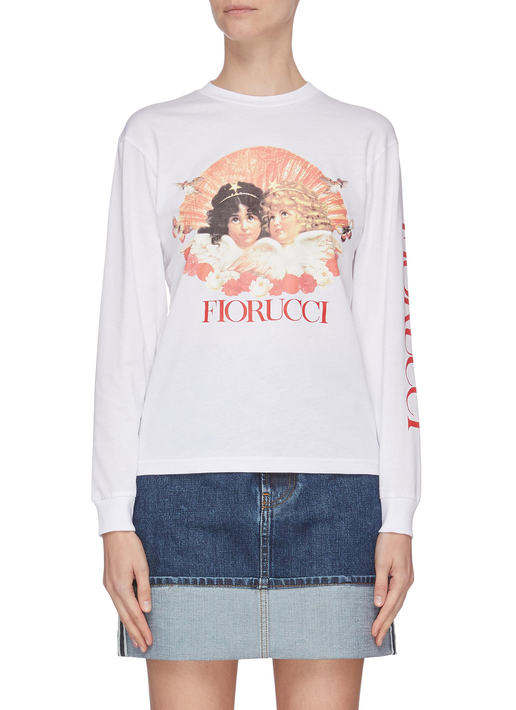 shop Fiorucci Angel print logo sleeve T-shirt online