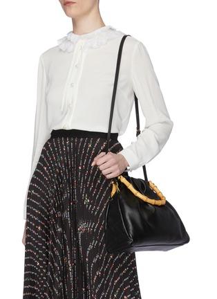 Front View - Click To Enlarge - MIU MIU - Bamboo Handle Small Satchel Bag