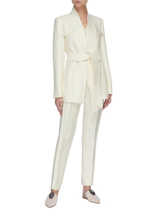 Figure View - Click To Enlarge - GABRIELA HEARST - Proteus' belted virgin wool silk blend blazer