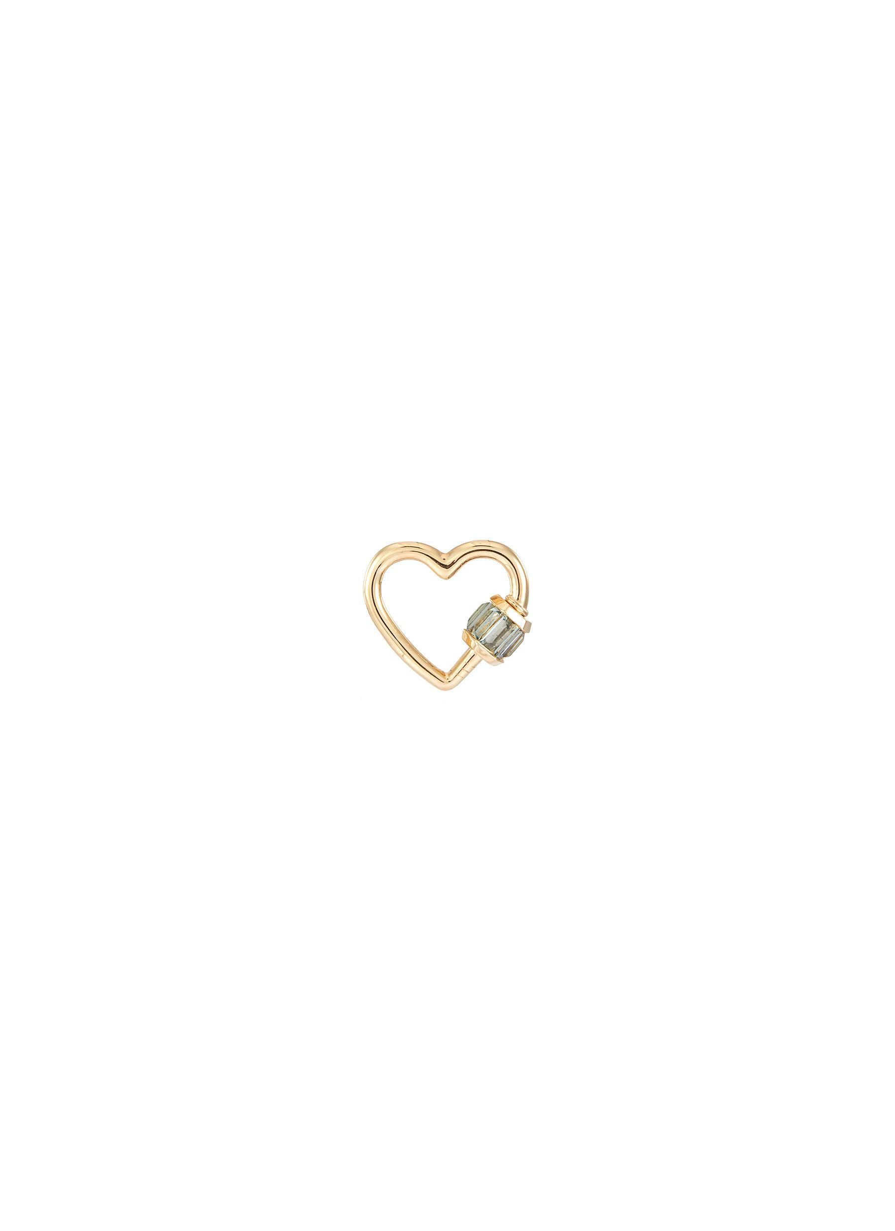 'Heart' sapphire 14k yellow gold baguette baby lock