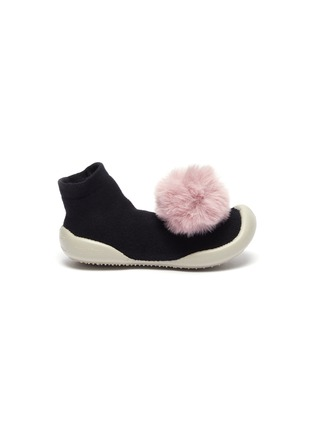 Main View - Click To Enlarge - COLLÉGIEN - POMPOM TODDLER SOCK KNIT SNEAKERS