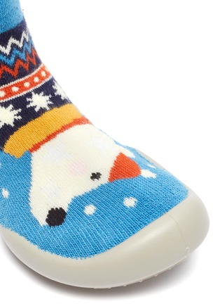 Detail View - Click To Enlarge - COLLÉGIEN - Puppy intarsia toddler sock knit sneakers