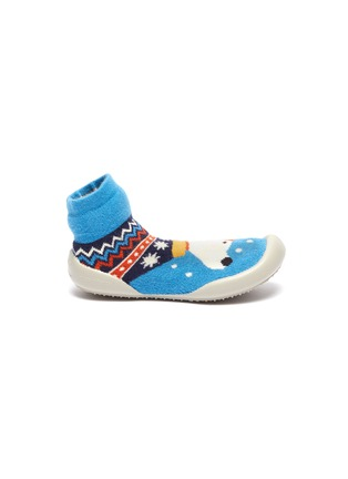 Main View - Click To Enlarge - COLLÉGIEN - Puppy intarsia toddler sock knit sneakers