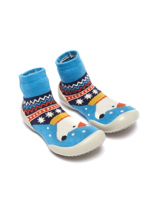 Figure View - Click To Enlarge - COLLÉGIEN - Puppy intarsia toddler sock knit sneakers