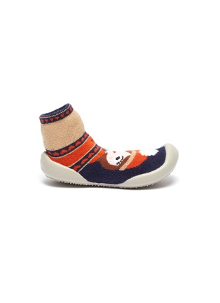 Main View - Click To Enlarge - COLLÉGIEN - Girl intarsia toddler sock knit sneakers