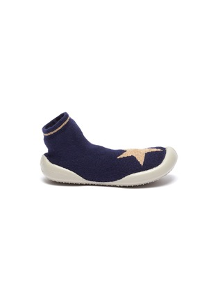 Main View - Click To Enlarge - COLLÉGIEN - Star intarsia toddler sock knit sneakers