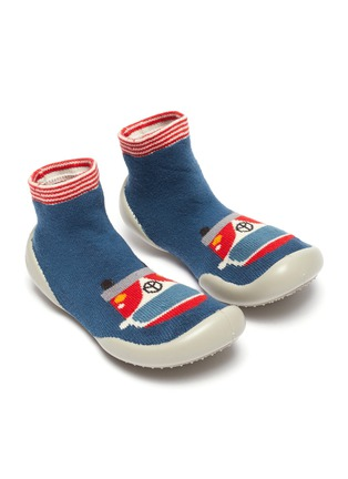 Figure View - Click To Enlarge - COLLÉGIEN - Caravan intarsia toddler sock knit sneakers