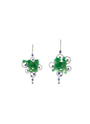 Main View - Click To Enlarge - SAMUEL KUNG - Diamond sapphire jade 18k white gold cat earrings