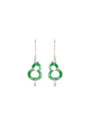Main View - Click To Enlarge - SAMUEL KUNG - Diamond jade 18k white gold ear pins