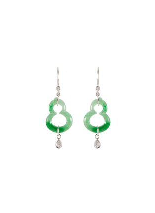 Main View - Click To Enlarge - SAMUEL KUNG - Diamond jade 18k white gold ear pins
