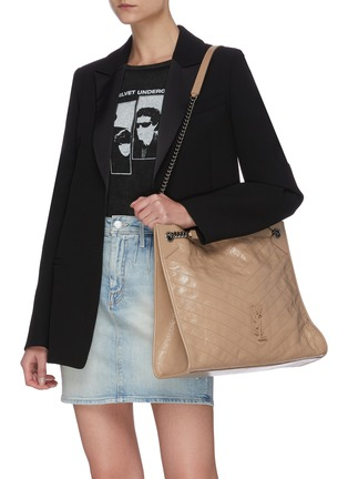 Front View - Click To Enlarge - SAINT LAURENT - Niki' domesticated calf leather shopper tote bag
