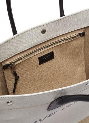 Detail View - Click To Enlarge - SAINT LAURENT - 'Rive Gauche' canvas leather tote bag