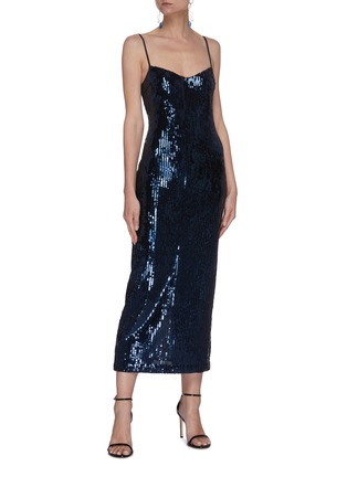 Figure View - Click To Enlarge - GALVAN LONDON - 'Midnight' mirrored bustier midi dress