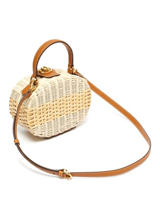 Detail View - Click To Enlarge - MARK CROSS - Gianna' oval rattan shoulder bag