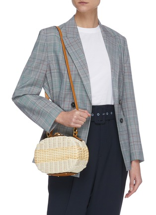 Front View - Click To Enlarge - MARK CROSS - Gianna' oval rattan shoulder bag
