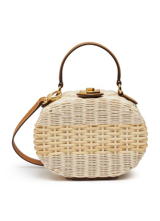Main View - Click To Enlarge - MARK CROSS - Gianna' oval rattan shoulder bag